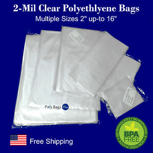 25 1000 2mil Clear Poly Bags Lay flat Open Top Small Food Grade Plastic Baggies