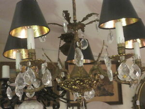 Vintage Brass And Crystal Chandelier 5 Lights With Shades