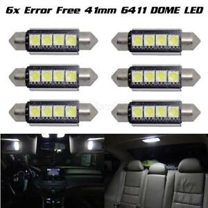 6 X Car Dome 5050 Smd Led Canbus Bulb Light Interior Festoon Led 42mm White