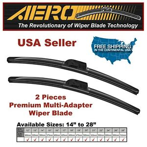 Aero Vw Cc Eos Golf Jetta Gti Rabbit Passat Windshield Wiper Blades Set Of 2
