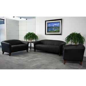 Black Leather Sofa Love Seat Side Chair Office Reception Area Guest Seating Set