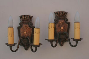 Pair 1920s Antique Crown Motif Sconce Light Spanish Revival English Tudor 2060