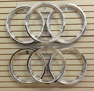 Ford Model A Shay Super Deluxe Replica 18 Wheel Beauty Rings Trim Ring Set Of 6