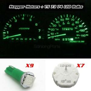 7x Stepper Motor X27 168 Speedometer Cluster Repair Kit 9 Green Led Bulbs For Gm