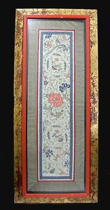Lg Antique Chinese Silk Embroidered Panel In Dbl Wood Frame Qing Ready To Hang
