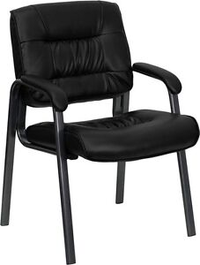 Lot Of 14 Black Leather Guest Reception Office Chairs