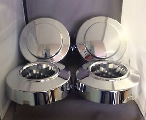 New 1999 2004 Ford F350 1 ton Dually Front Rear 4x4 Chrome Center Cap Set