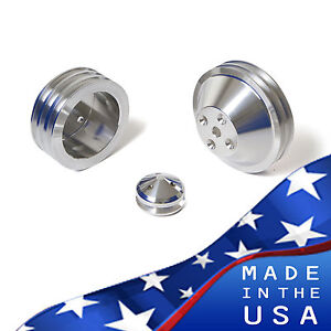 Small Block Chevy V Belt Pulley Kit 283 302 305 327 350 400 Sbc Billet Lwp Vbelt