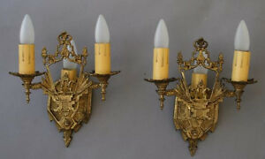 Pair 1920s Brass Sconces Light English Tudor Gothic Spanish Revival 4687