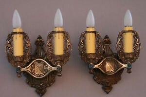 Pair 1920s Double Crested Sconce Lights Antique Spanish English Tudor 4953