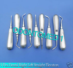 9 Pc Dental Extraction Extracting Right Left Straight Elevators Instruments