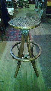 Antique Operators Stool Industrial Barstool Drafting Chair Bentwood Vintage