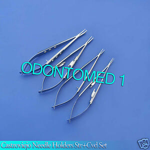 4 Pcs Asorted Micro Minor Surgery Castroviejo Needle Holders Kit Straight curved