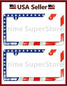 2 New Usa American Flag Abs Plastic License Plate Frames Tag Cover Car Suv Truck