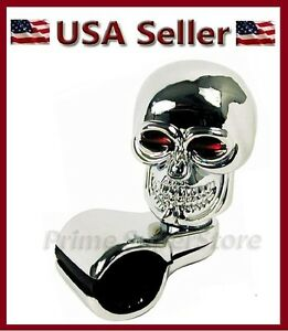 New Chrome Skull Car Steering Wheel Spinner Handle Auto Truck 1 Suicide Knob