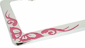 New Chrome Metal Dark Pink Butterfly License Plate Frame Car Steel Tag Holder