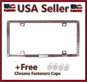 New Pink Rhinestone Diamond Chrome Metal License Plate Frame Bling Cover