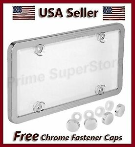 New Combo Chrome Plastic License Plate Frame Clear Acrylic Shield Cover Holder