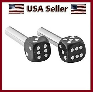 Black White Chrome Plated Stems Dice Door Lock Knobs Auto Car O Truck Knob Set