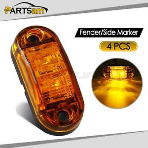 4x 2 5 Oval Clearance Amber Led Lamp 2 Diode Trailer Truck Side Marker Light