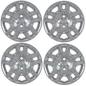 New 16 Bolt on Chrome Hubcaps Wheelcover Set That Fit 2007 2012 Nissan Sentra