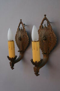 Pair Single Sconce Lights 1920 S Spanish Revival English Tudor 3964