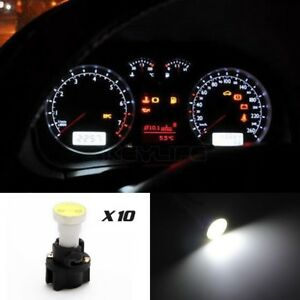 10 For Ford Instrument Panel Cob Led Light Bulbs With Pc74 T5 Sockets White Kit