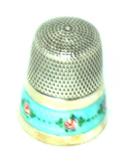 Antique Enamel Floral Sterling Thimble Lovely