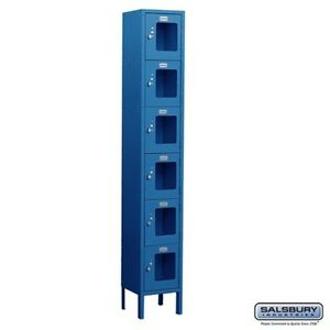 See through Metal Locker Six Tier Box Style 1 Wide 6 High 15 Deep Blue New