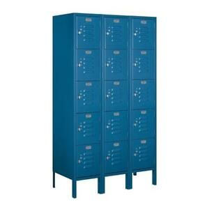 Standard Metal Locker Five Tier Box Style 3 Wide 5 High 15 Deep Blue 65355bl u