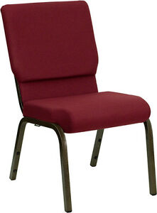 18 5 w Burgundy Patterned Fabric Stacking Church Chair Gold Vein Frame