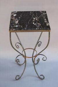 1920s Iron Base Marble Top Drink Stand Side End Table Spanish Revival 6507