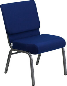 21 Extra Wide Navy Blue Fabric Stacking Church Chair Silver Vein Frame