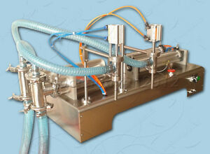 Two Spouts Water Oil Liquid Sauce Filling Machine 1000ml With Bottle Capper
