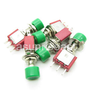 50 X Mini Momentary Click Green Knob Push Button Switch Spdt No com nc Wholesale