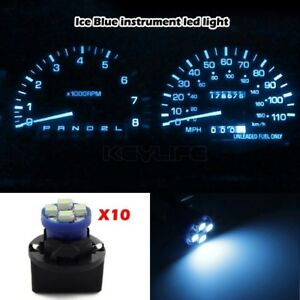 10x Pc194 Instrument Panel Cluster Ice Blue Led Light Bulb Dashboard Sockets