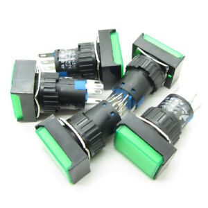 25 Green 16mm Push Button Switch Latching Rectangle With Dc 24v Led Light