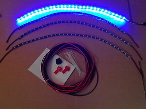 4pc Blue Car Wheel Well Custom Led Under Body Interior Light Kit Or Golf Cart