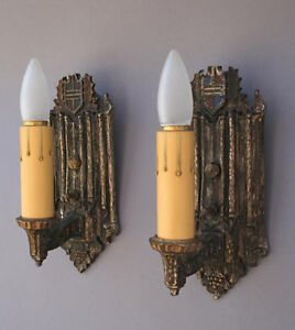 Antique Pair 1920s Crest Motif Wall Sconce Light Lamp Spanish Revival 3581