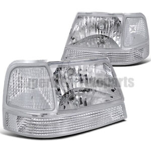 For 1998 2000 Ford Ranger Headlights Corner Turn Signal Lamps Clear Lens Pair