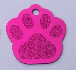 50 Hot Pink Paw Print Pet Identification Tags Anodized Aluminum Blank Wholesale