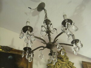 Vintage Brass And Crystal Chandelier 5 Lights Made In Spain
