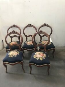 Victorian Set Of Six Antique American Needle Point Chairs 1800 1899 5674