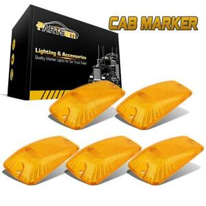 5 Roof Cab Marker Roof Running Clearance Light Amber Covers Lens For Chevy gmc