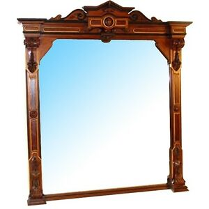 Antique Victorian Walnut Wall Mirror 7272