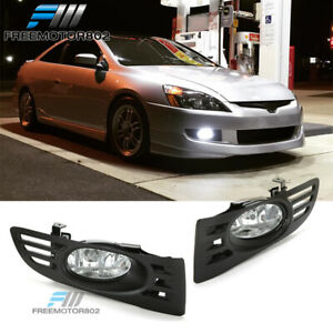 For 03 05 Honda Accord 2door Coupe Oe Style Clear Lens Fog Lights Lamps Kit Pair