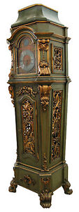 19th C German Giltwood Painted Long Case Grandfather Clock W Polyphon 7642