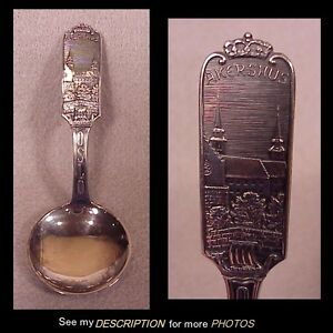 830s Silver Norway Norwegian Brodrene Lohne Tea Caddy Spoon Akershus Castle Oslo