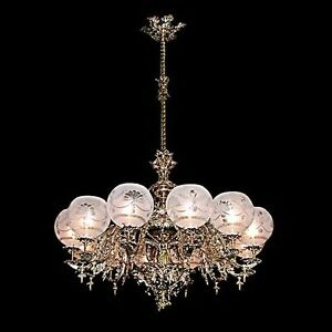 Single Tier Chandelier Brass Rococo Revival 5556
