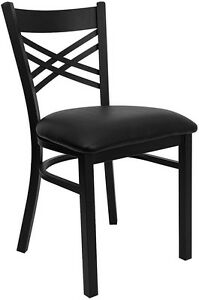 Metal X Back Restaurant Chair With Black Vinyl Seat